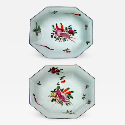 Chelsea Porcelain Manufactory English Porcelain Chelsea Factory Pair of Dishes Decorated with Vegetables