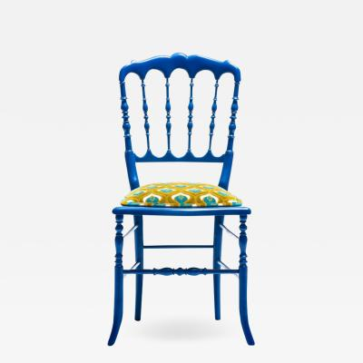 Chiavari Blue Lacquered Chiavari Side Chair with Peacock Feathers in Cut Velvet