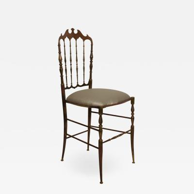 Chiavari CHIAVARI Bronze Chair in Sumptuous Gray ITALY 1950s Midcentury Elegance