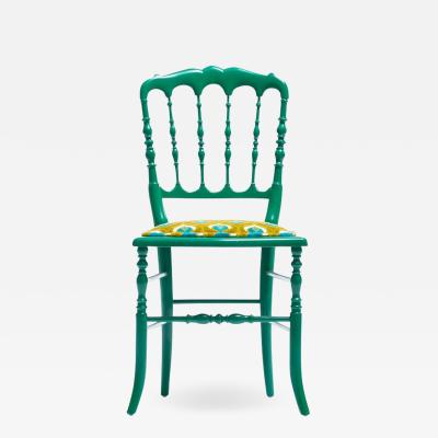 Chiavari Green Lacquered Chiavari Side Chair with Peacock Feathers in Cut Velvet