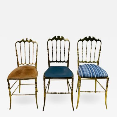 Chiavari HIGH STYLE TRIO OF BRASS CHIAVARI CHAIRS