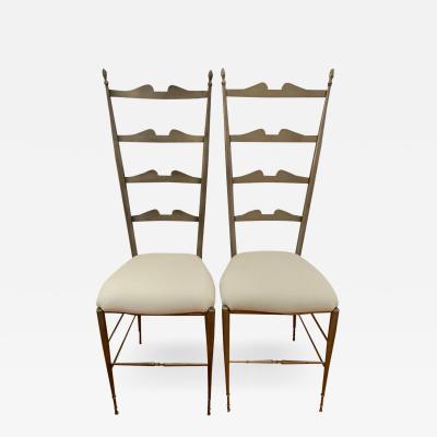 Chiavari Pair of Italian Ladder Back Chiavari Chairs in Silver Metal