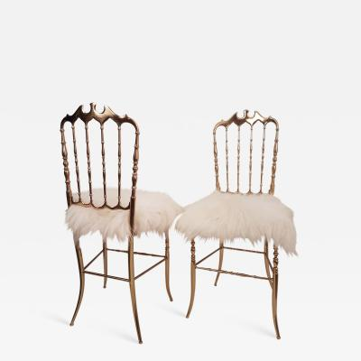 Chiavari Pair of Italian Massive Brass Chairs by Chiavari Upholstery Iceland Wol