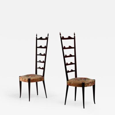 Chiavari Paolo Buffa pair of mahogany Chiavari chairs Italy 1950s