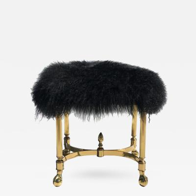 Chiavari Petit Mongolian Wool and Brass Bench Footrest