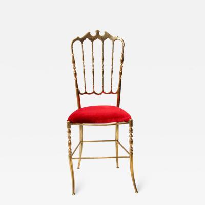 Chiavari Polished Brass Chiavari Chair with Red Velvet Italy 1960s
