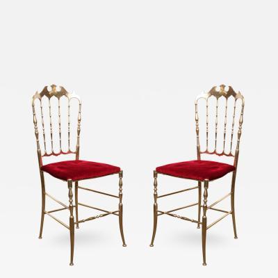 Chiavari Polished Brass Chiavari Chairs with Red Velvet