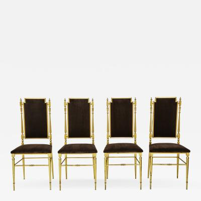 Chiavari Suite of four solid brass Chiavari chairs Italy 1970s