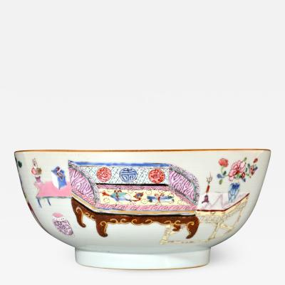 Chinese Porcelain Chinese Export Famille Rose Porcelain Bowl with Chinese Furniture