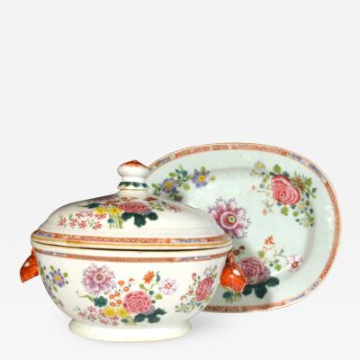 Chinese Porcelain Chinese Export Famille Rose Porcelain Tureen Cover Stand