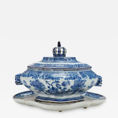 Chinese Porcelain Chinese Export Porcelain Early Blue White Soup Tureen Cover Stand