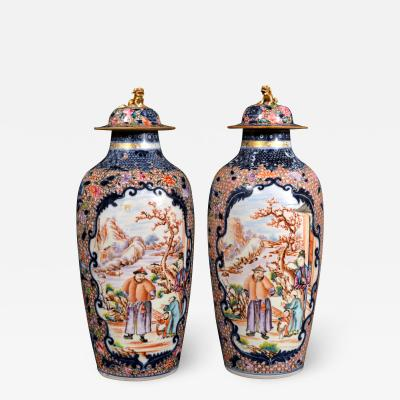 Chinese Porcelain Chinese Export Porcelain Mandarin Vases Covers