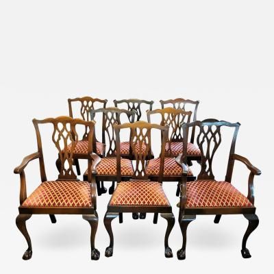 Chippendale Style Late 19th Century English Mahogany Chippendale Style Dining Chairs