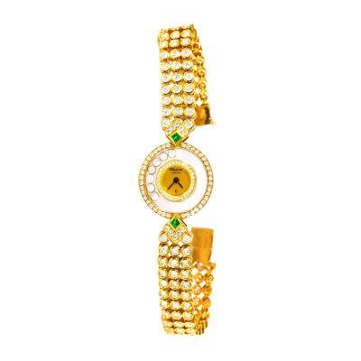 Chopard 18kt Triple Diamond Row Emerald Set Happy Diamond Bracelet Watch