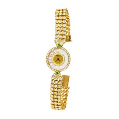 Chopard 1980 90s Chopard Happy Diamond Emerald Aprox 20Cts Diamond Bracelet Watch