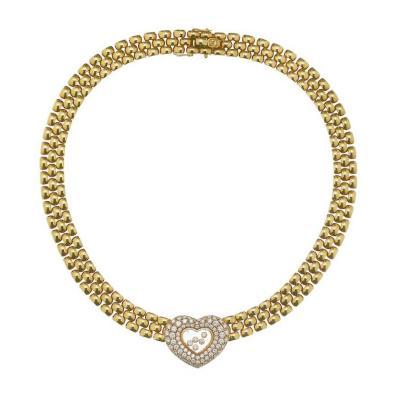 Chopard CHOPARD 18K YELLOW GOLD HAPPY DIAMOND HEART 2 59CTTW LINK CHOKER NECKLACE
