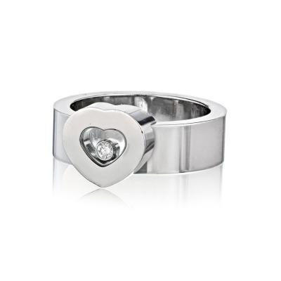 Chopard CHOPARD HAPPY DIAMONDS 18K WHITE GOLD SOLID POLISHED HEART SINGLE DIAMOND RING