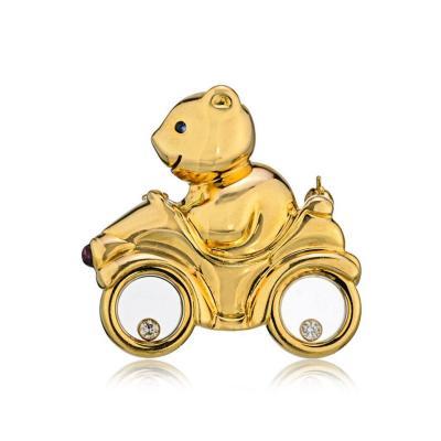 Chopard CHOPARD HAPPY DIAMONDS 18K YELLOW GOLD BEAR ON BICYCLE BROOCH