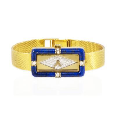 Chopard Rare Chopard Kutchinsky 1970s 18kt YG Lapis Pave Diamond Set Dial Wristwatch