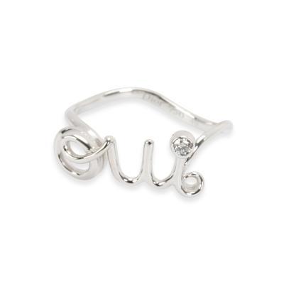 Christian Dior Dior Oui Fashion Ring in 18K White Gold 0 02 CTW