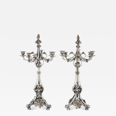 Christofle Pair of Christofle Neoclassical style silvered bronze table candelabra