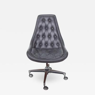 Chromcraft Classic Chromcraft Tufted Navy Blue Faux Leather Swivel Office Desk Chair 1970s