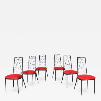 Chromcraft Set 6 decorables 1967 selection for chromcraft metal dining chairs red and black