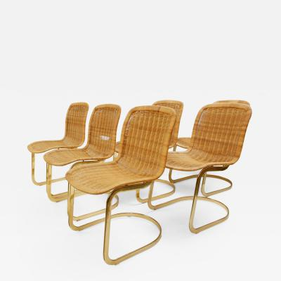 Cidue Set Of 6 Wicker Dining Chairs By Cidue 1970s