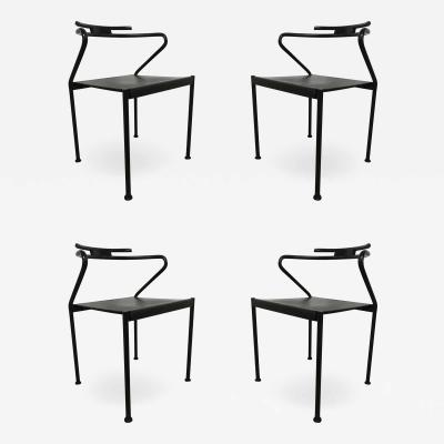 Cidue Set of Four Post Modern Black Leather Dining Chairs by Cidue