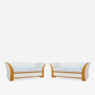 Comfort Design Matching Pair of Mid Century Modern Bamboo Reed White Sofas or Loveseats