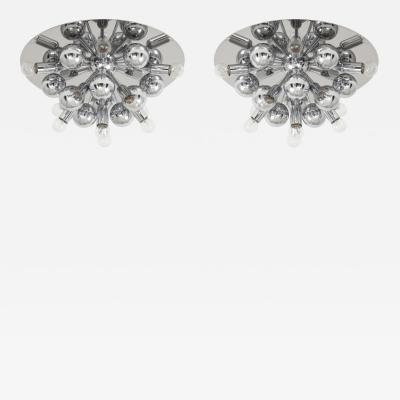 Cosack Leuchten Pair of 1970s Chrome Sputnik Lights