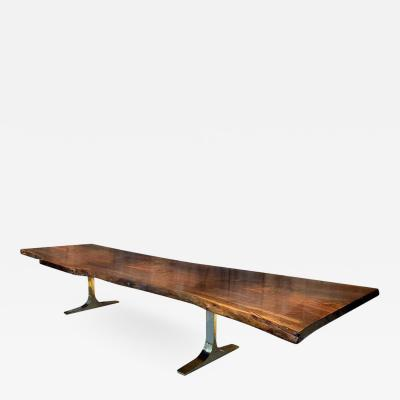 Costantini Design Ambrosi Live Edge Walnut Slab Table with Cast Bronze Bases
