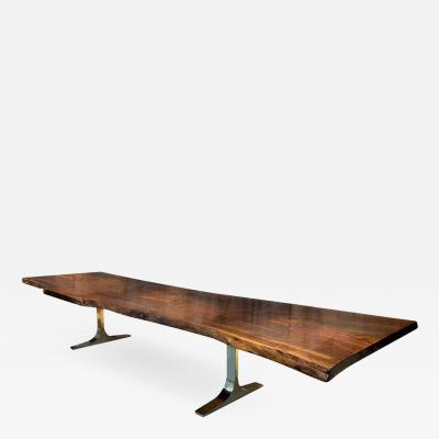 Costantini Design Ambrosi Live Edge Walnut Slab Table with Cast Bronze Bases from Costantini