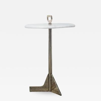 Costantini Design Bellance Cigarette Table in Cast Bronze and White Ibiza Stone