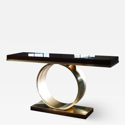Costantini Design Donte Polished Bronze and Wood Console Table from Costantini