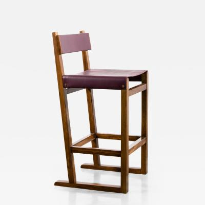 Costantini Design Exotic Wood Counter Stool with Leather Seat and Bronze from Costantini Piero