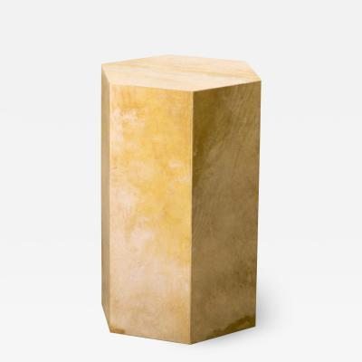 Costantini Design Goatskin Modern Minimal Side Table from Costantini Pergamino Hex In Stock