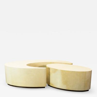 Costantini Design Goatskin Modern Sculptural Nesting Coffee Tables from Costantini Cadenza