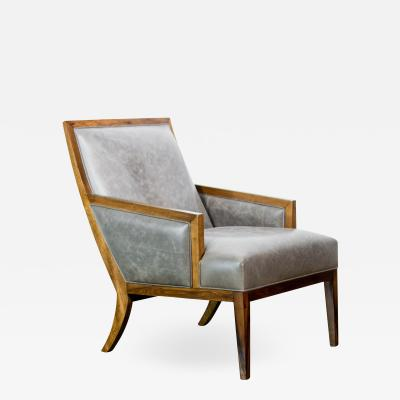 Costantini Design Modern Exotic Wood and Leather Lounge Chair by Costantini Belgrano In Stock