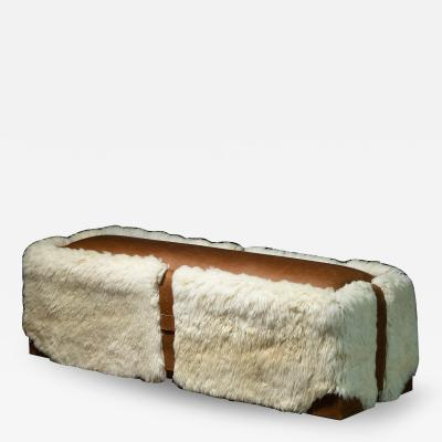 Costantini Design Shearling and Leather Custom Contemporary Bench from Costantini Ovino