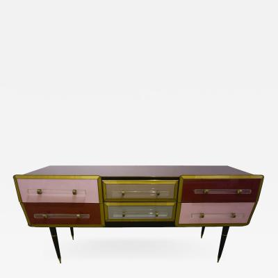 Cosulich Interiors Antiques 1960 Italian Vintage Rose Pink Gray Wine Gold Sideboard Console with 6 Drawers