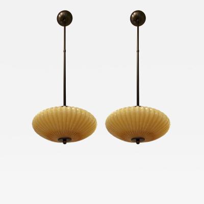 Cosulich Interiors Antiques 1970s Italian Pair of Mustard Yellow Murano Glass Flying Saucer Pendants