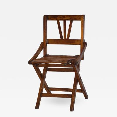 Cosulich Interiors Antiques Antique 1950s Italian Handcrafted Oak Doll Miniature Folding Chair