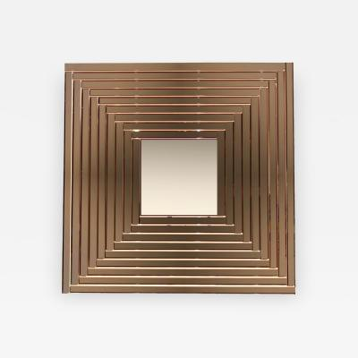 Cosulich Interiors Antiques Contemporary Geometric Italian Bronze Murano Glass Gradient Square Mirror