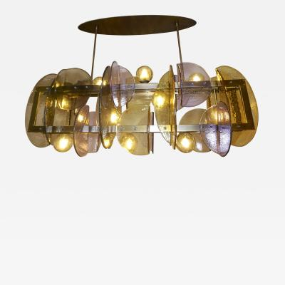 Cosulich Interiors Antiques Contemporary Italian Amber Amethyst Murano Glass Gold Bronze Finish Chandelier