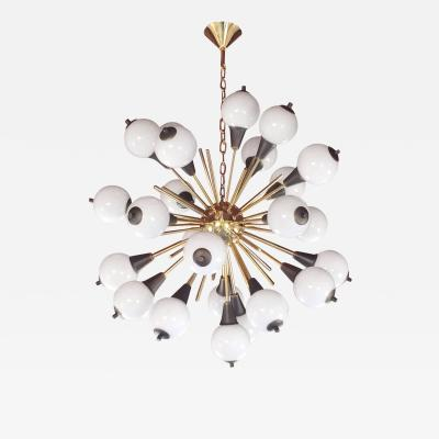 Cosulich Interiors Antiques Contemporary Italian Antique Bronze and White Murano 24 Light Sputnik Chandelier