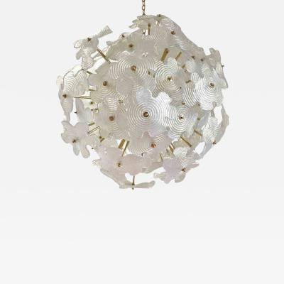 Cosulich Interiors Antiques Contemporary Italian Brass Satin White Murano Glass Flower Sputnik Chandelier