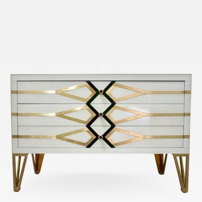 Cosulich Interiors Antiques Contemporary Italian Design Gold Brass Black and Cream White Three Drawer Chest