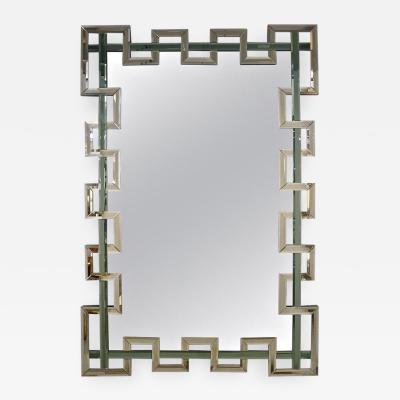 Cosulich Interiors Antiques Contemporary Italian Geometric Murano Glass Mirror with Aqua Green Ribbon Decor