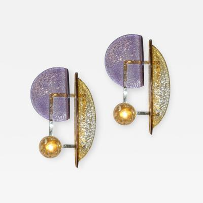 Cosulich Interiors Antiques Contemporary Italian Pair of Amber and Amethyst Murano Glass Gold Brass Sconces